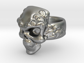 Elemental Skull Ring 'Water'  in Natural Silver: 6 / 51.5