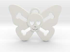 Cute Butterfly Skull in White Natural Versatile Plastic