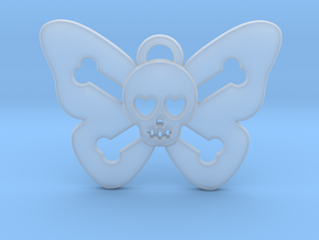 Cute Butterfly Skull in Smoothest Fine Detail Plastic