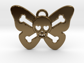 Cute Butterfly Skull in Polished Bronze
