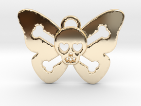 Cute Butterfly Skull in 14K Yellow Gold