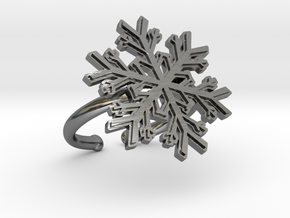 Snowflake Ring 1 d=16.5mm Adjustable h21d165a in Fine Detail Polished Silver
