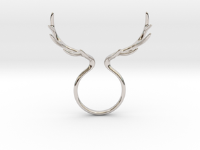 Antler Ring No.1 in Rhodium Plated Brass