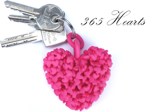 365 Hearts Key Ring in Pink Processed Versatile Plastic