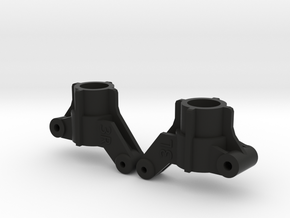 Top Force Rear Knuckles 3 degrees toe-in (TA02) in Black Natural Versatile Plastic