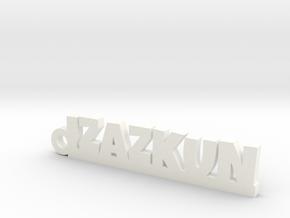 IZAZKUN_keychain_Lucky in Rhodium Plated Brass