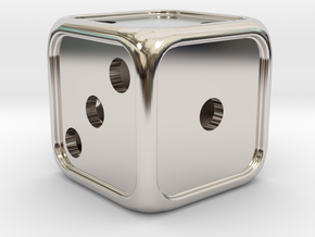 'Simple' D6 balanced Die with dots, 14 mm in Rhodium Plated Brass