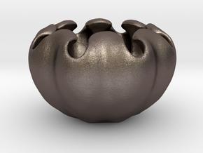 Fractal Flower Pot V in Polished Bronzed Silver Steel