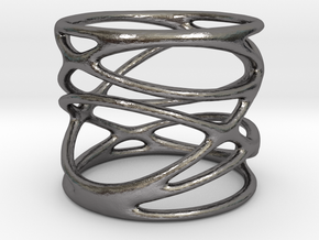 Ring - Mimas Seven in Polished Nickel Steel