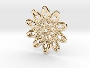 Fractal Flower Pendant III in 14k Gold Plated Brass