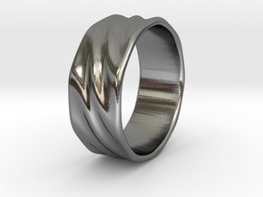 Ripple Ring in Polished Silver: 6 / 51.5