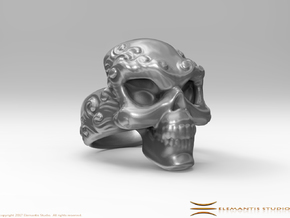 Elemental Skull Ring 'Water'  in White Premium Strong & Flexible: 6 / 51.5