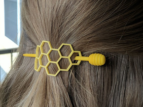 Honey Comb Hair Fastener in Yellow Processed Versatile Plastic