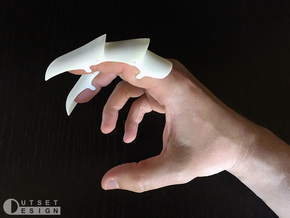 Full Finger Articulated Claw Ring in White Processed Versatile Plastic