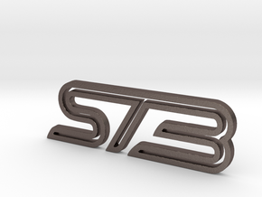 Ford Focus ST3 badge in Polished Bronzed Silver Steel