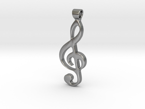 treble clef pendant in Raw Silver