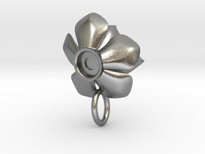 Rosette Succulent Pendant in Natural Silver