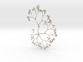 Fractal Trees Pendant in Rhodium Plated Brass