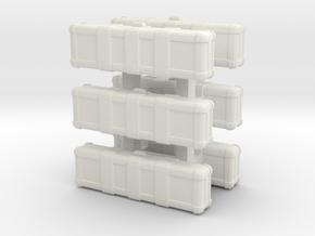 1/87 Scale Rifle Cases x6 in White Natural Versatile Plastic