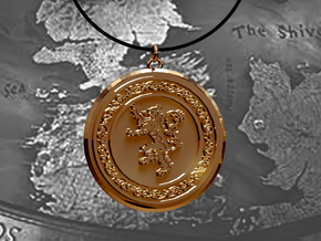 Game of Thrones Lannister Lion Pendant in 14k Gold Plated Brass