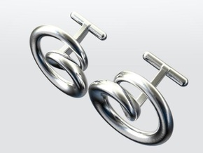 Cydonia Cufflinks pair in Rhodium Plated Brass
