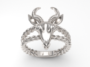 Antelope Head Ring  in Fine Detail Polished Silver: 7 / 54