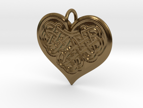 Celtic Shamrock Heart Pendant in Polished Bronze