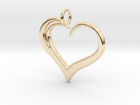 Heart to Heart Pendant V3.0 in 14k Gold Plated Brass