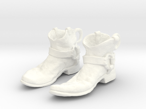 Sculpted Cowboy Boots for Earings Hardware Not Inc in White Processed Versatile Plastic