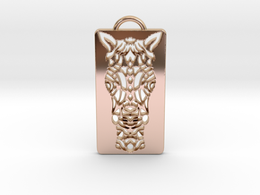 Horse Head Pendant in 14k Rose Gold Plated Brass