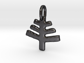 Beltane Glyph Charm in Polished and Bronzed Black Steel
