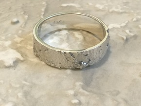 Lunar Landing Site Male (Thick) Moon Ring - Silver in 14K Yellow Gold: 7.5 / 55.5