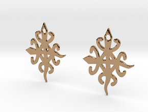 Adinkra Symbol of Unity in Diversity Earrings in Polished Brass