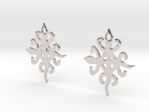Adinkra Symbol of Unity in Diversity Earrings in Rhodium Plated Brass