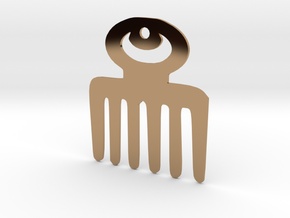 Adinkra Symbol of Beauty Pendant in Polished Brass