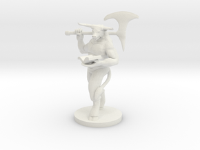 Bookish Minotaur Male Barbarian  in White Natural Versatile Plastic