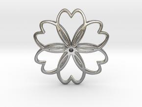 Cherry Blossom Symbol Pendant in Natural Silver