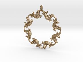 Salamander Pendant in Polished Gold Steel