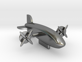 Zeppelin with moving rotors in Fine Detail Polished Silver