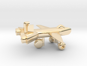 Jet w/ landing gear in 14K Yellow Gold