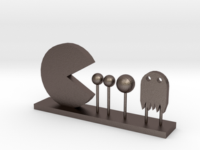 Pacman and Ghost in Polished Bronzed Silver Steel