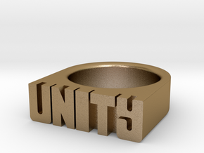 17.3mm Replica Rick James 'Unity' Ring in Polished Gold Steel