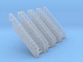 Z Scale Industrial Stairs 11 (4pc) in Smooth Fine Detail Plastic