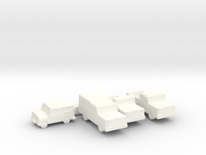 Small Trucks and Jeep  in White Processed Versatile Plastic