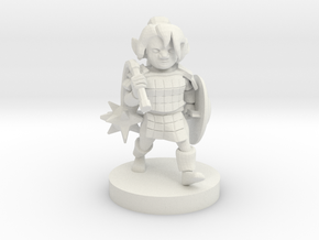 Gnome Female Paladin with Flail in White Natural Versatile Plastic