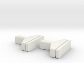 HIC T-Handel x2 in White Natural Versatile Plastic
