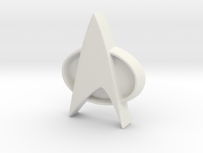 Star Trek Tng Badge in White Natural Versatile Plastic