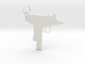 UZI Keychain in White Natural Versatile Plastic