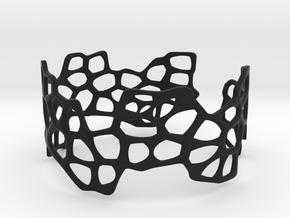 Cells Bracelet (open, 64mm) in Black Premium Versatile Plastic