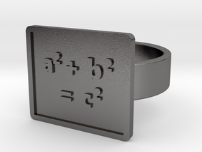 Pythagorean Theorem Ring in Polished Nickel Steel: 10 / 61.5